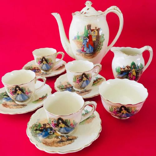 Crown Ducal -  Coffee Set - Country Life Scene - 20s 30s